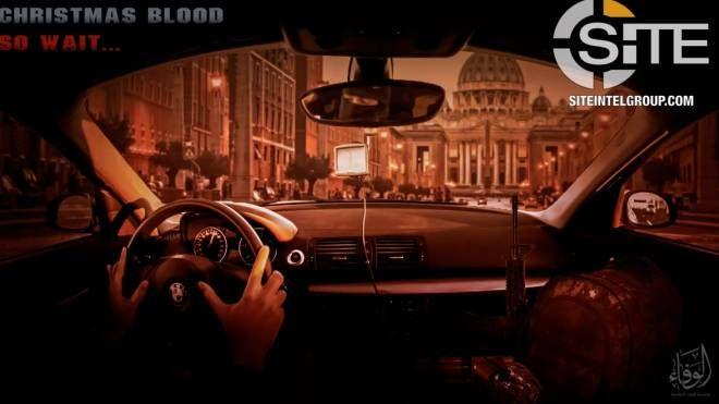 Il poster di propaganda dell'Isis che sollecita attacco in Vaticano (Twitter @Rita_Katz)