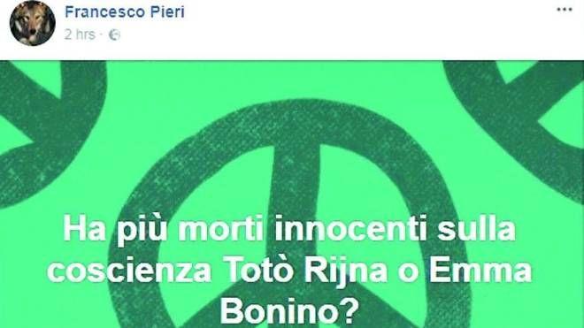 Il post pubblicato da don Francesco Pieri sulla sua pagina Facebook