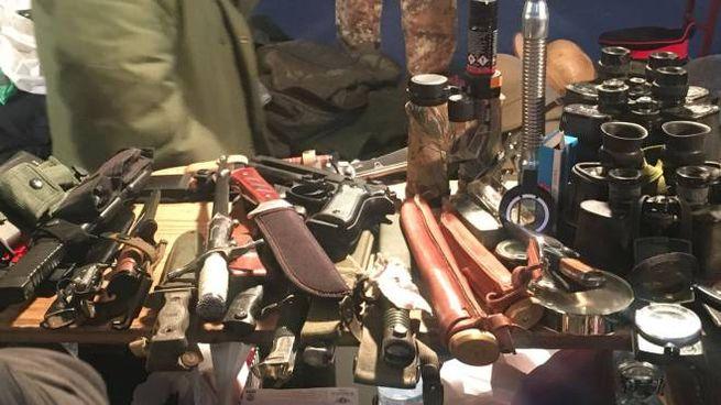 Alcune delle armi sequestrate