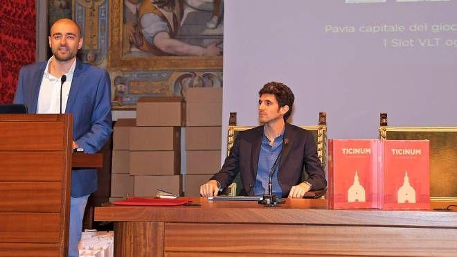 Due degli ideatori, Stefano Barbera e Stefano Achilli al collegio Borromeo per la presentazione dell'iniziativa
