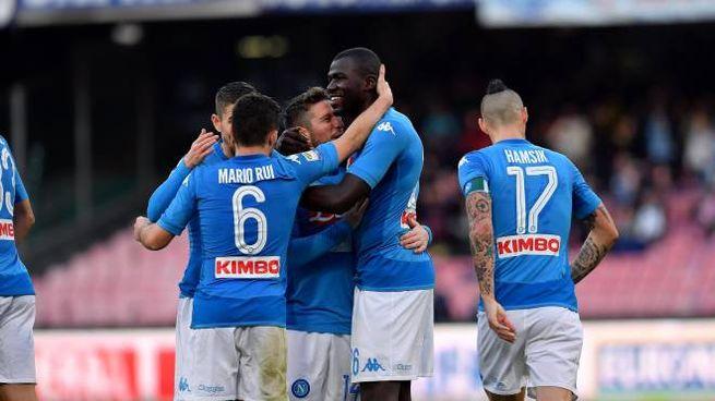 L'esultanza degli azzurri al gol di Koulibaly