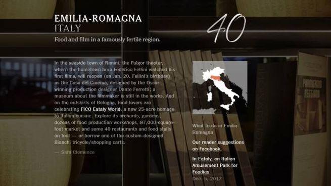 La scheda dedicata dal Nyt all'Emilia-Romagna