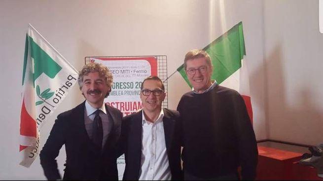 Elezioni 2018: da sinistra Verducci, Alessandrini e Petrini del Pd di Fermo