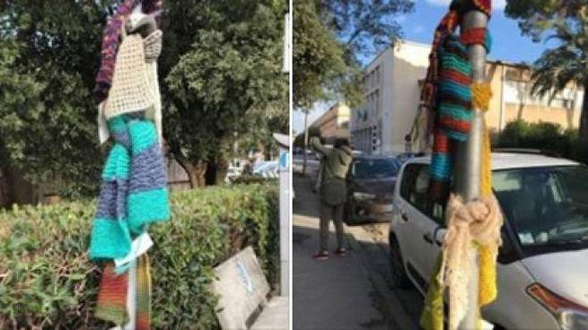 Le sciarpe legate ai pali della luce a Pisa 0d56e1d8b41d