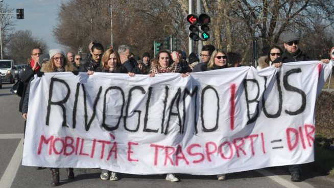 La protesta dei pendolari