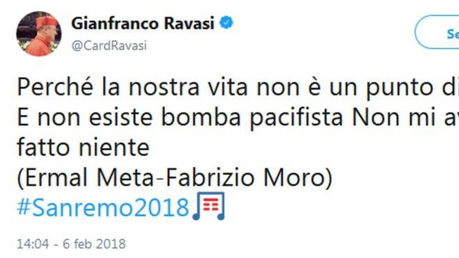 Sanremo 2018, il tweet del cardinale Gianfranco Ravasi (Ansa)