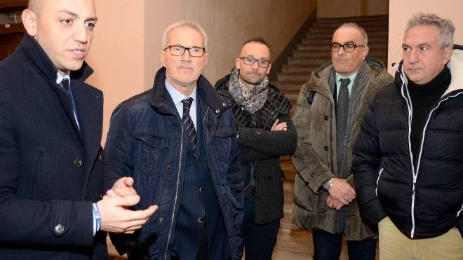 Francesco Passerini alla guida di Palazzo San Cristoforo con alcuni colleghi sindaci  lodigiani