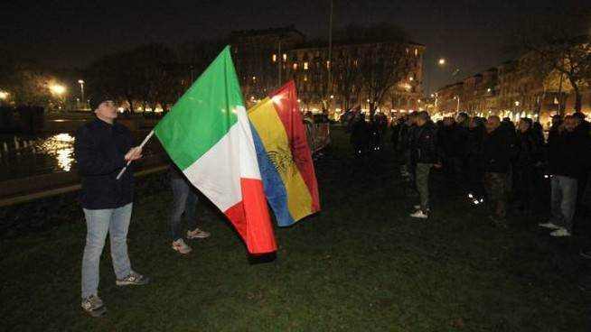 Una manifestazione di CasaPound a Milano