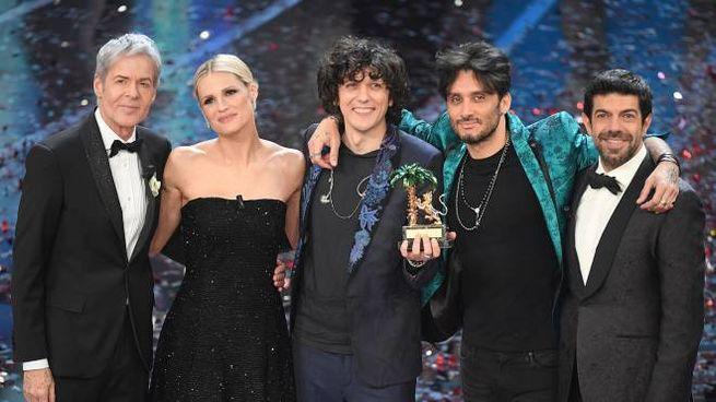 Sanremo 2018, i conduttori e i vincitori (Lapresse)
