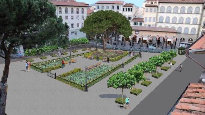 Un rendering della nuova piazza dei Ciompi