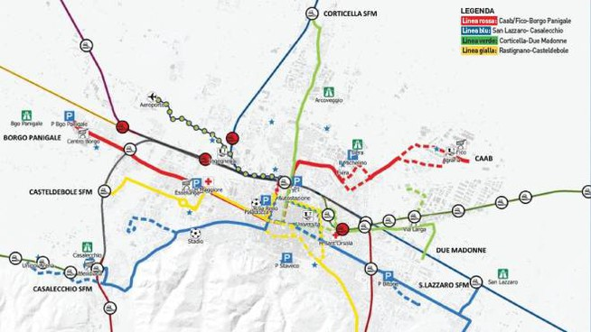 Le futuribile 4 linee del tram a Bologna