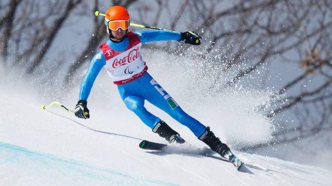 Giacomo Bertagnolli in azione: ha conquistato un bronzo paralimpico (Ansa)