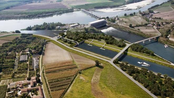 La nuova conca sul fiume Po