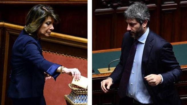 Elisabetta Casellati e Roberto Fico (Lapresse/Ansa)