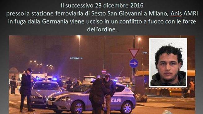 Una slide diffusa dalla Polizia relativa all'operazione antiterrorismo