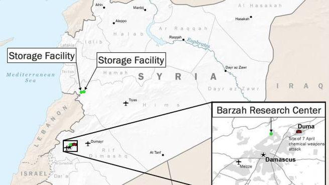 Mappa della Siria con gli obiettivi militari Usa (Ansa)