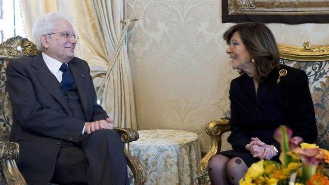 Sergio Mattarella ed Elisabetta Casellati durante le consultazioni (Ansa)