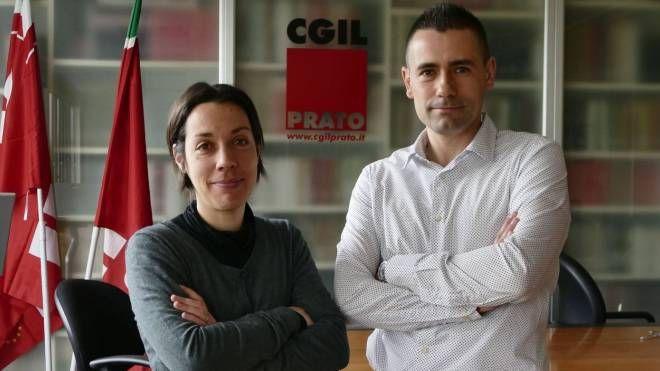 La neomamma con Giovanni Santi della Cgil