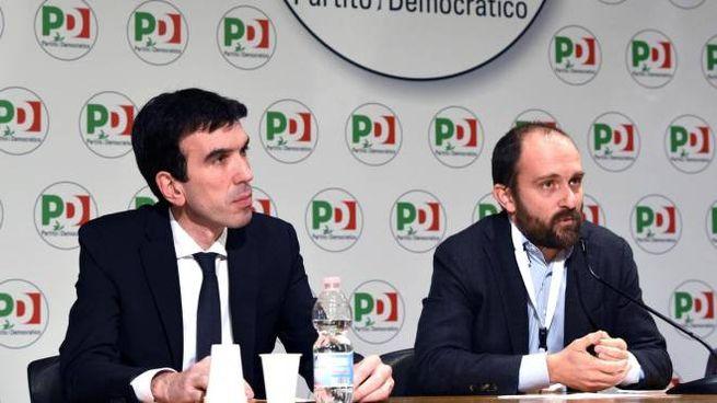 Maurizio Martina (a sinistra) e Matteo Orfini durante la direzione Pd (Ansa)