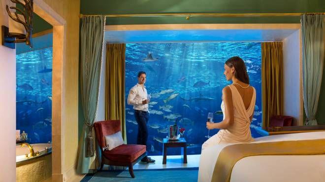 Una delle suite sottomarine dell'Atlantis di Dubai - Foto: www.atlantisthepalm.com