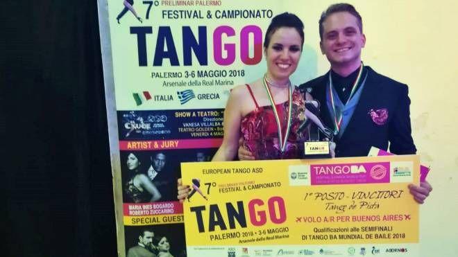 Giulia Del Porro e Riccardo Pagni, vincitori del campionato italiano di tango