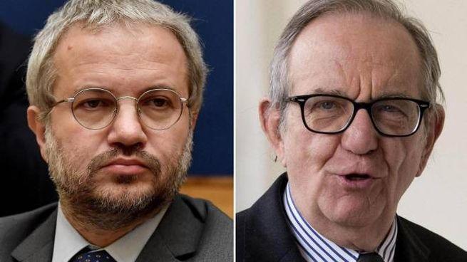 Il deputato Claudio Borghi e il ministro Pier Carlo Padoan (Ansa)