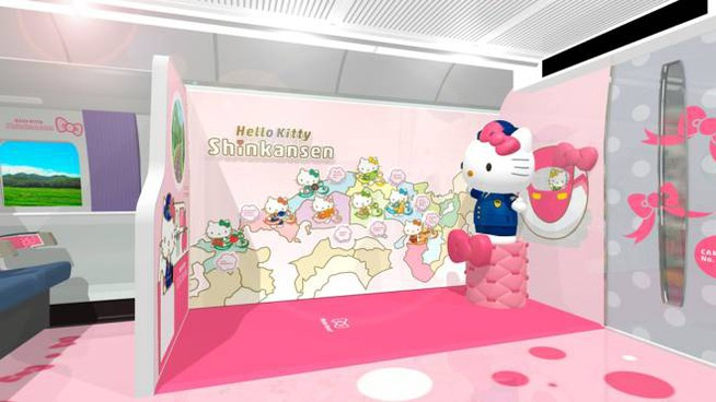 Gli interni del treno dedicato a Hello Kitty - Foto: www.jr-hellokittyshinkansen.jp