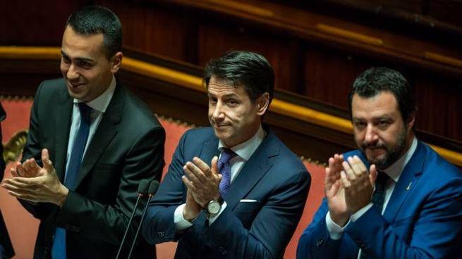 Governo, Conte con Di Maio e Salvini (Newpresse)