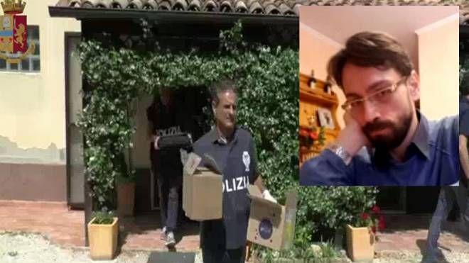 L'operazione di polizia e nel riquadro l'arrestato Claudio Pinto