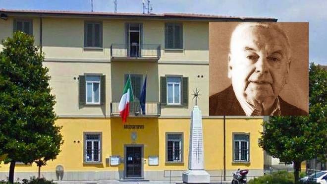 Il municipio di Fornovo, nel riquadro l'ex sindaco Carlo Nicoli