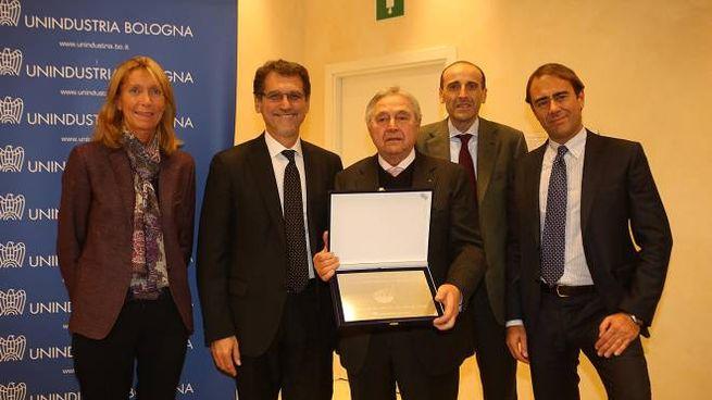Elena Zacchiroli, Virginio Merola, il vincitore Ugo Poppi, Alberto Vacchi e Andrea Cangini