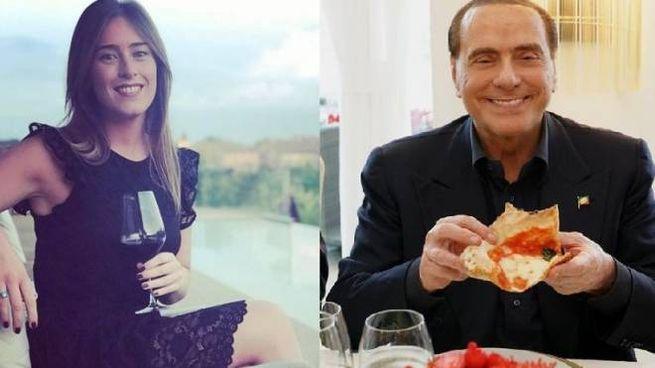 Maria Elena Boschi e Silvio Berlusconi in due foto tratte da Instagram