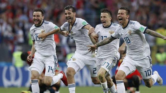 Mondiali 2018, l'esultanza delle Russia (Ansa)