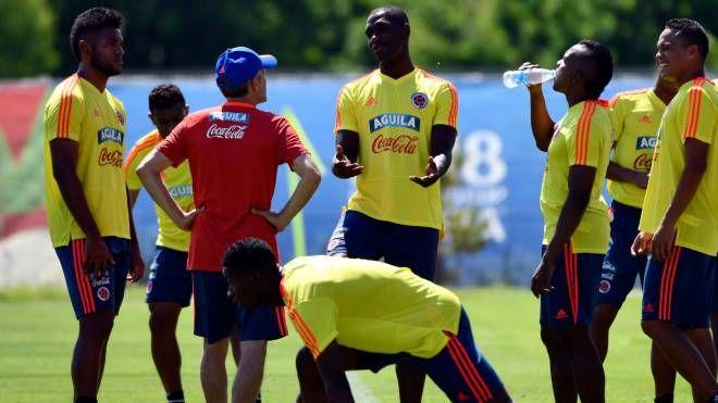 La Nazionale colombiana in allenamento