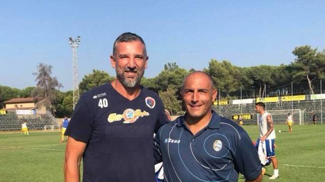 Il tecnico Battistini con l'allenatore del Piombino