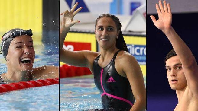 I tre ragazzi d'oro del nuoto italiano: Panziera, Quadarella e Codia