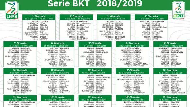 Calendario Serie A 1 Giornata.Calendario Serie B 2018 2019 Tutte Le Giornate Sport