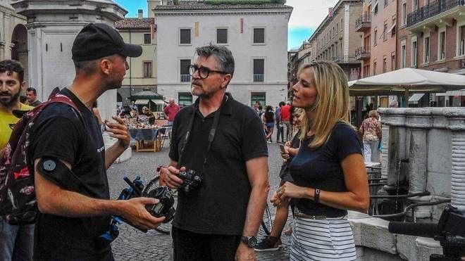Un momento delle riprese della trasmissione Rai (foto Bove)
