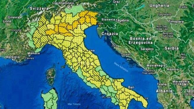 Allerta meteo, la mappa della Protezione Civile postate su Twitter