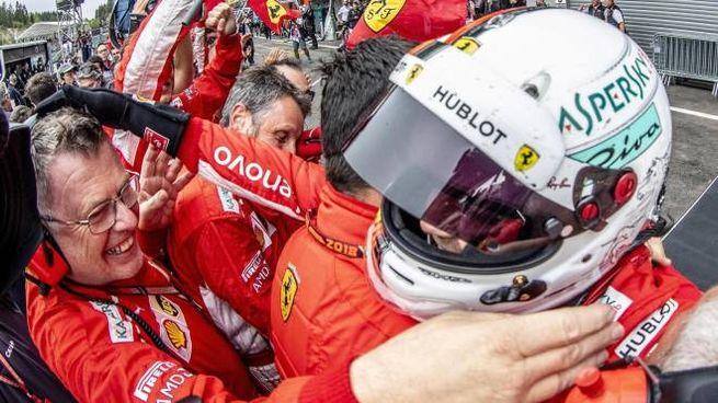 Gp Belgio, l'esultanza di Sebastian Vettel (Ansa)