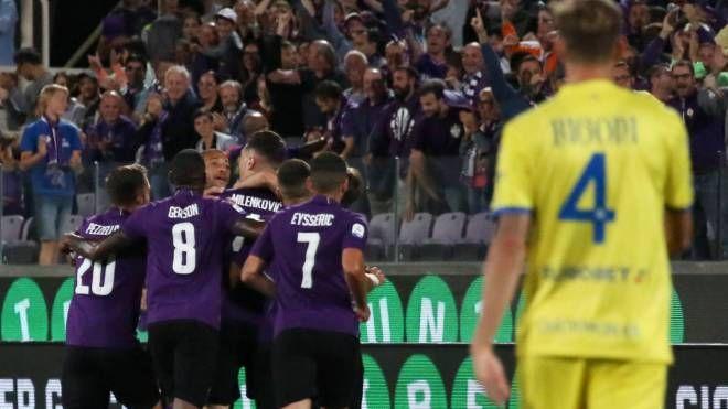L'esultanza viola dopo il gol di Milenkovic (Fotocronache Germogli)