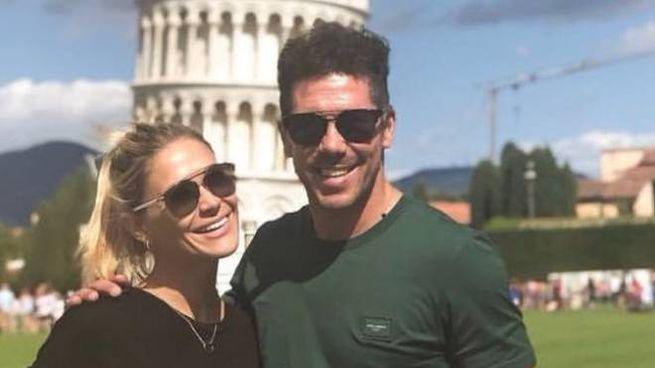 Diego Simeone e la moglie