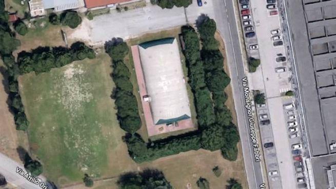 Vista dall'alto del centro sportivo comunale di Fornace Zarattini