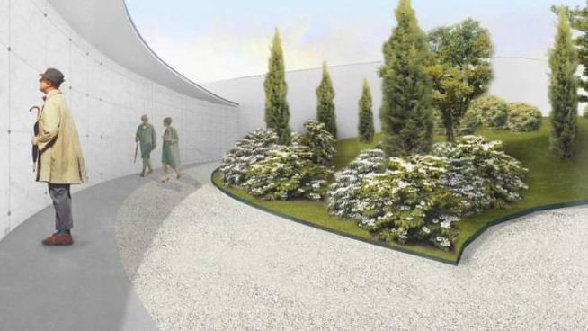 Un rendering mostra come sarà il Giardino della memoria