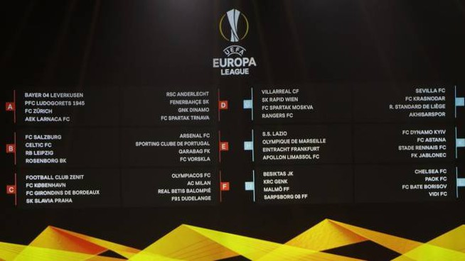 Il tabellone completo con i gironi dell'Europa League (Ansa)