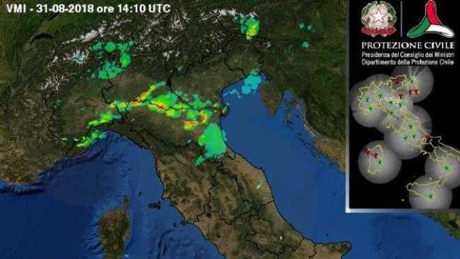 Previsioni meteo, violento maltempo nel weekend. Nella foto: radar della Protezione Civile