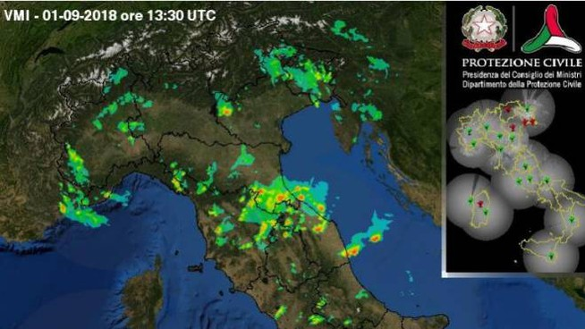 Previsioni meteo, weekend di maltempo. Foto: radar Protezione Civile