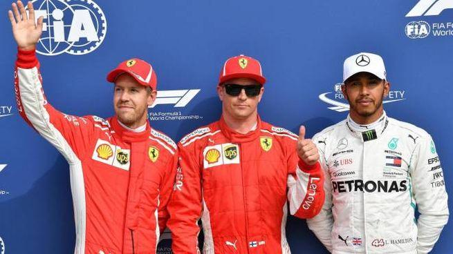 Gp di Monza 2018, da sin. Vettel, Raikkonen e Hamilton (Ansa)