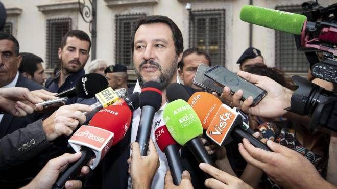 Matteo Salvini al termine del vertice a Palazzo Chigi (Ansa)