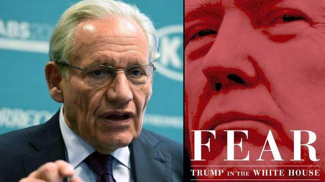 Bob Woodward e la copertina del libro su Trump (Ansa)